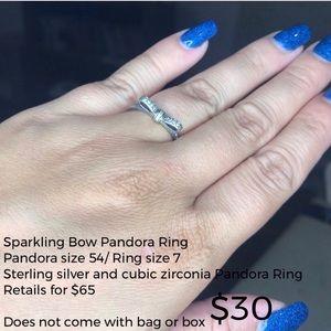 Sparkling Bow Pandora Ring